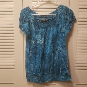 Blue Floral Ruffled INC Top